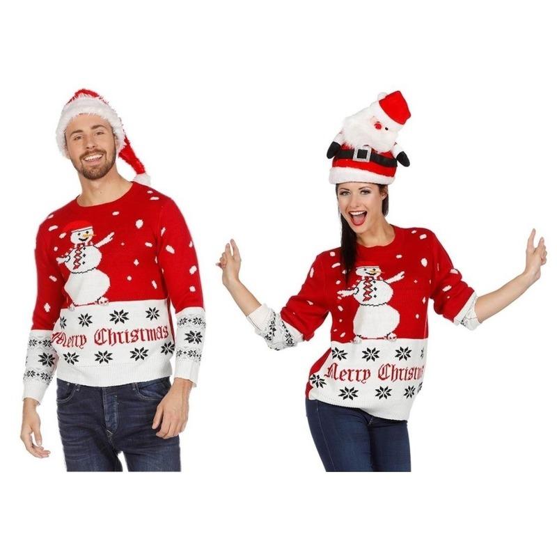 Kersttrui Dames Sneeuwpop.Rood Witte Kerst Trui Met Sneeuwpop Voor Volwassenen Kersttruien